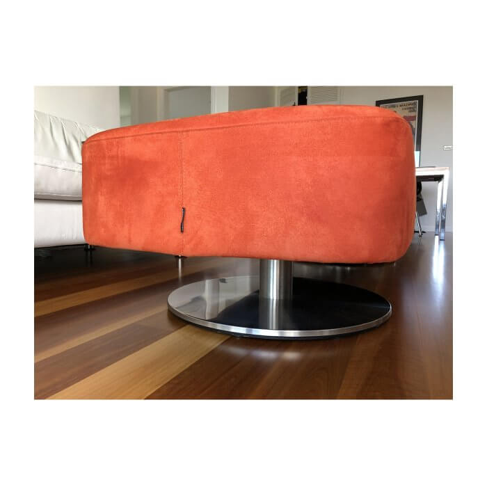 Schanburg & Alvisse Smooth ottoman in burnt orange colour
