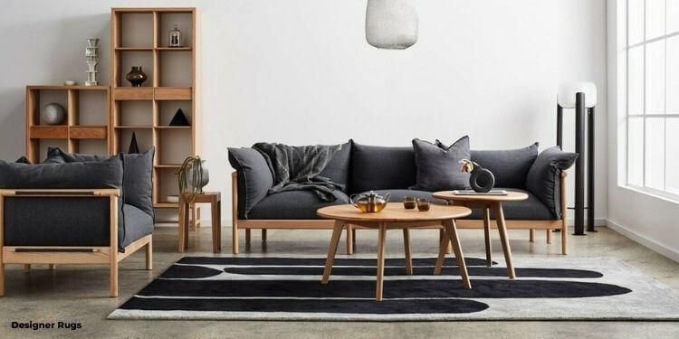 Designer Rugs living room with Dinosaur Designs Sticks Rug