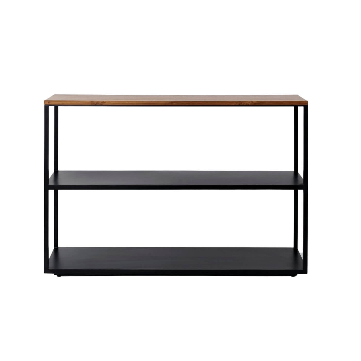 Reddie Furniture Suzy shelf unit black with wood top, on sale on Two Design Lovers