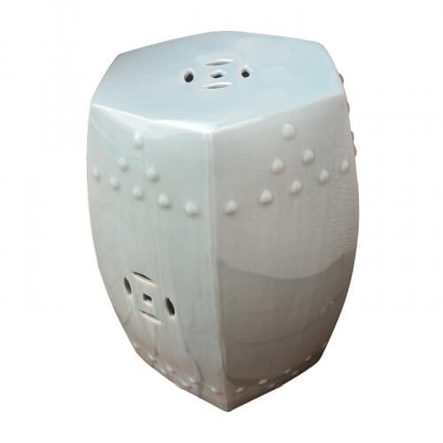 Ceramic side table, light blue
