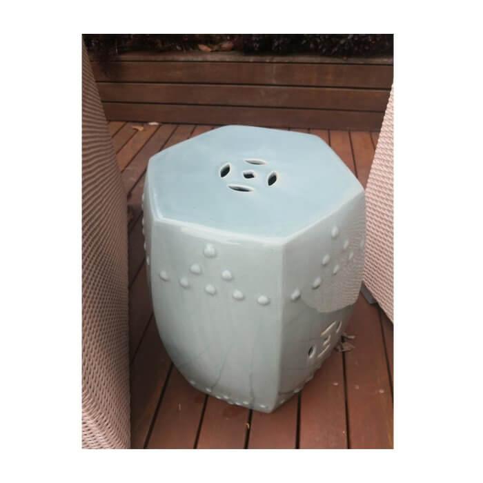 Ceramic side table, light blue