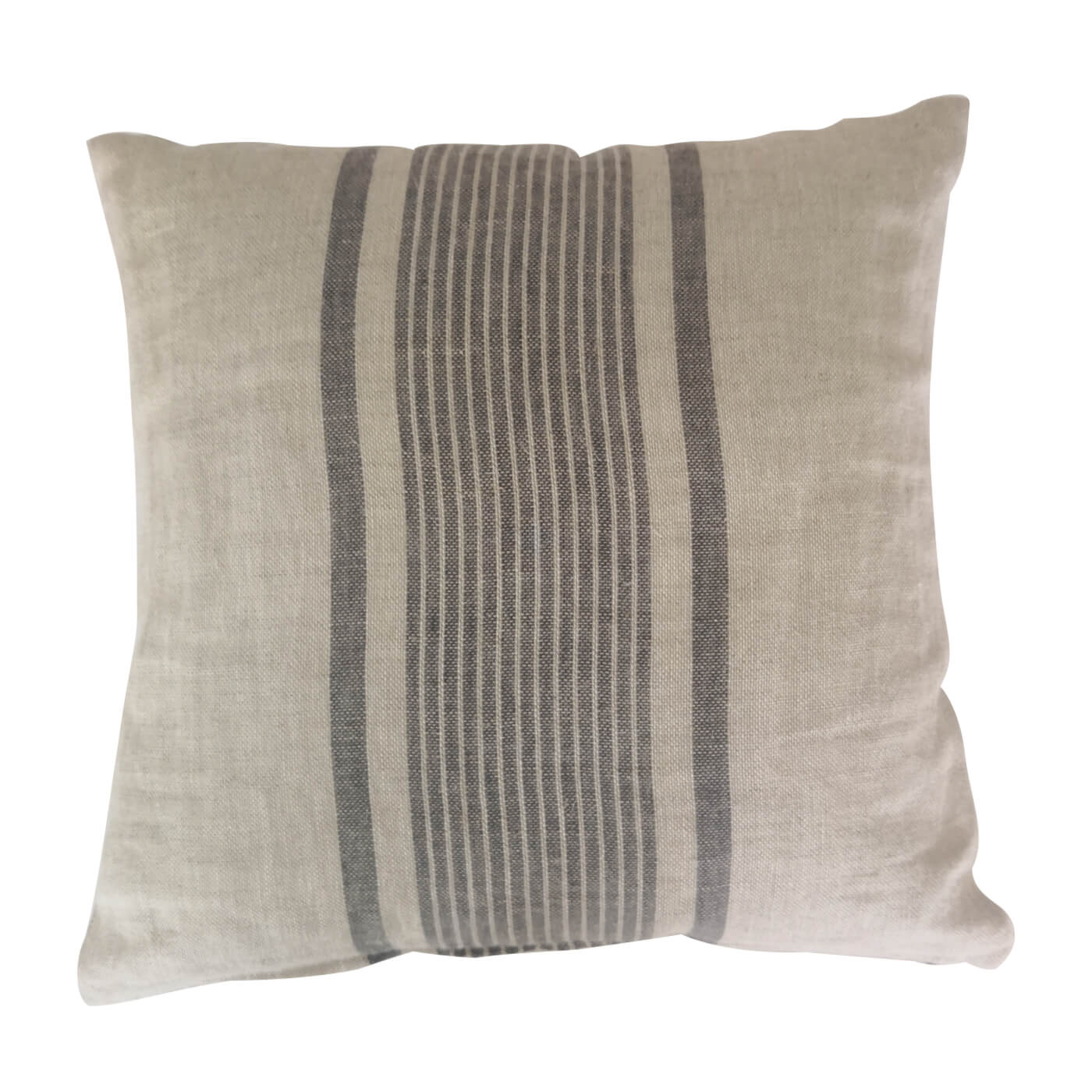 Pair of grey striped linen cushions
