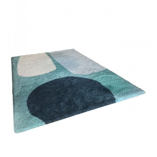 Dinosaur Designs for Designer Rugs, Over the Fence, organic design in aqua