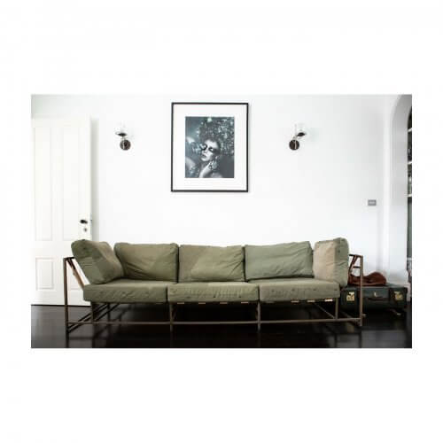 Stephen Kenn designer sofa in vintage military canvas on Two Design Lovers