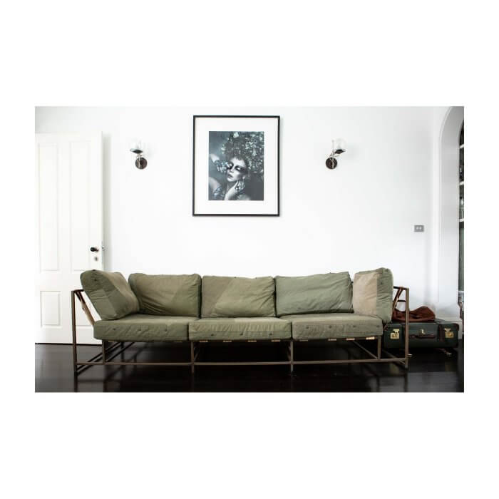 Stephen Kenn designer sofa in vintage military canvas on Two Design Lovers