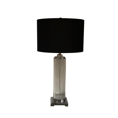 Glass column lamp with black shade