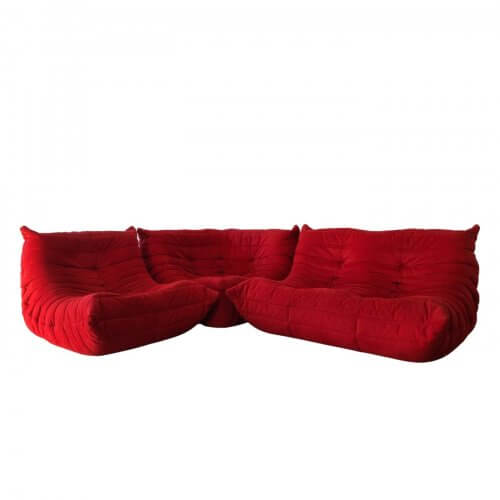 Togo Sofa by Ligne Roset in Angel red alcantara