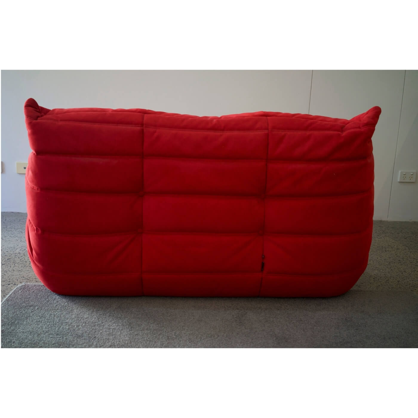 Togo sofa by Ligne Roset in Angel Red alcantara fabric, second hand on Two Design Lovers