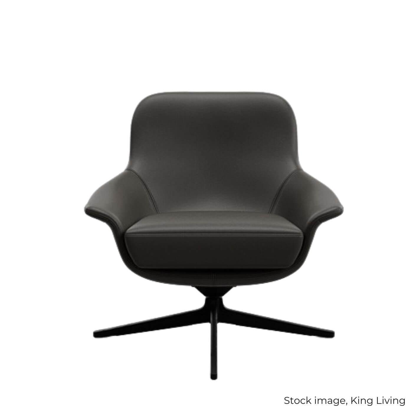 King Living Seymour black leather swivel chair